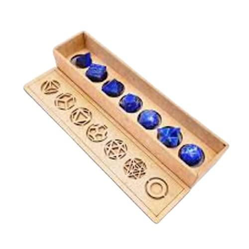 Pack de sólidos platónicos de lapislázuli + Esfera y Merkaba con Estuche,Pack de Cristales