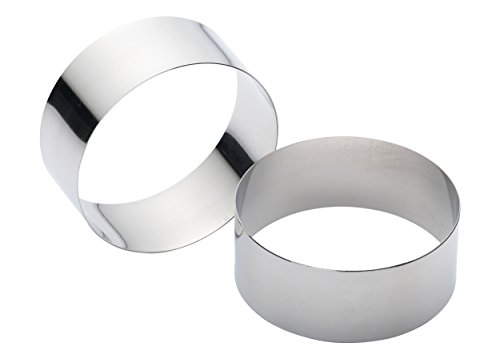 KitchenCraft Large Stainless Steel Cooking Rings, 9 x 3.5 cm (Set of 2)