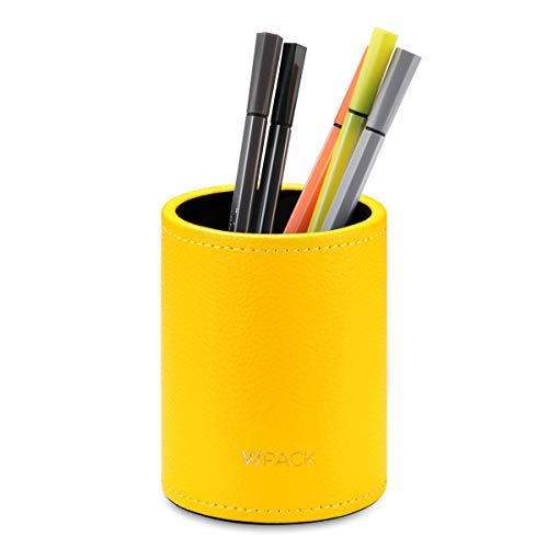 VPACK PU Leather Round Pencils Cup Pen Holder Desk Stationery Organizer (Canary Yellow)
