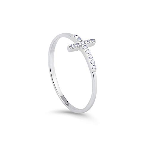 FANCIME White Gold Plated Sideways Cross Ring Band Ring Weeding Small Thin Stackable Stunning Cubic Zirconia CZ Simulated Diamond Eternity Ring Jewelry Gift for Women Teen Girls,Size 7