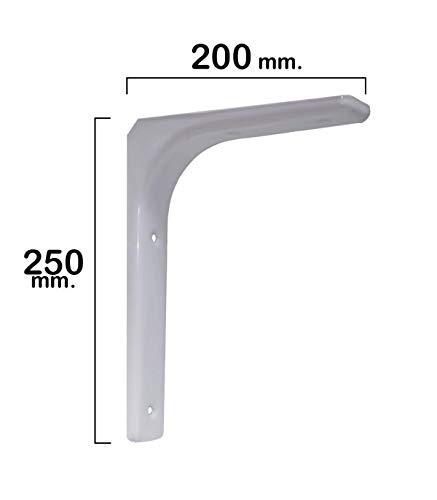 WOLFPACK LINEA PROFESIONAL 21080535 Palomilla Reforzada Blanca 250x200 mm, 250 x 200 mm
