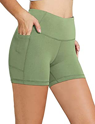 """BALEAF Women's 5"""" High Waist Workout Yoga Running Compression Exercise Volleyball Shorts Side Pockets Olive Green S"""