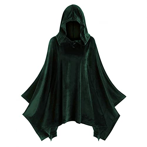 Julhold Capa con capucha para mujer, unisex, sólido, disfraz de Halloween, Navidad, estilo vintage, estilo Vevet, capa (verde, XL)