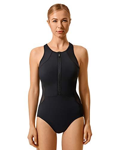 SYROKAN Donna Costume da Bagno Intero Sportivo Atletico con Zip Frontale Nero 40