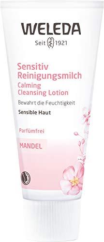 WELEDA Mandel Sensitiv Reinigungsmilch, sanfte porentiefe Naturkosmetik Reinigung für sensible Haut im Gesicht, geeignet für Neurodermitiker und schonende Entfernung von Make-up (1 x 75 ml)