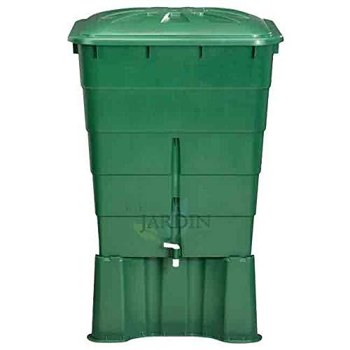 Suinga DEPOSITO DE AGUA de POLIPROPILENO 300 LITROS para agua de lluvia. Incluye tapadera y soporte. Largo 66cm, Ancho 80 cm, Alto 92 cm.