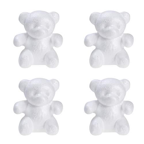 Amosfun 4 Stück Styropor Figur Bär Schaum Tiere Figur zum DIY Handwerk Bemalen Basteln Dekorieren 15cm (Weiß)