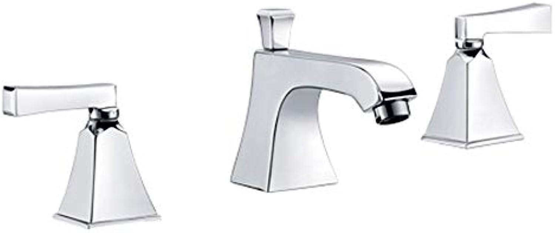 MulFaucet wasserhahn armatur hahn Wasserleitung Faucet Europisches Doppel-Loch-Dreiloch-Split-Becken hei und kalt Silber