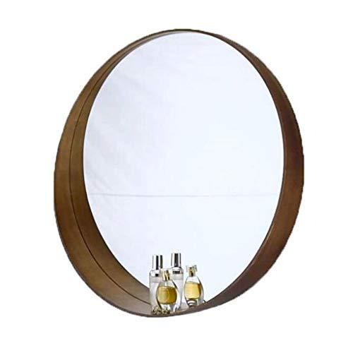 Cosmeticaspiegel make-up spiegel make-up spiegel badkamer-make-uprasierspiegel wand-hangende spiegel ronde houten walnoot frame cirkel decoratief 60cm