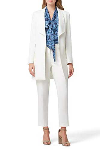 Tahari ASL Women's Winged Lapel Open Zipper Pocket Topper Jacket Dress Coat, Ivory, 10