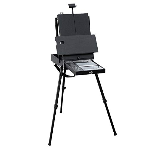 Falling in Art Black Portable Light Weight French Easel Box with Adjustable Aluminum Tripod