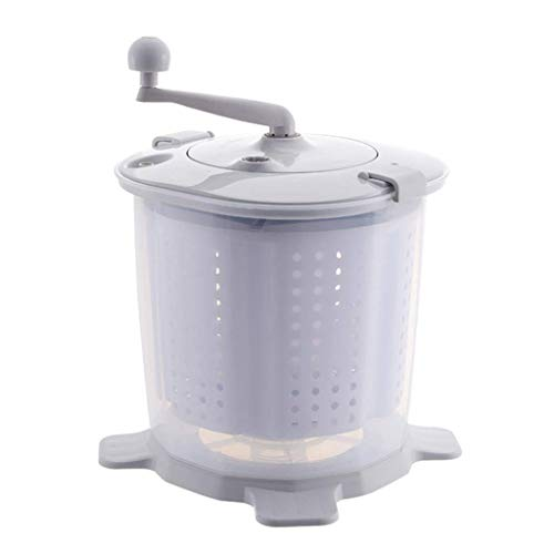 APAN Mini Lavadora portátil Eco |Ropa Manual con manivela,Lavadora no eléctrica y Secadora de giros,fácil de Usar,Adecuada para vehículos recreativos,Camping -Gris/Azul