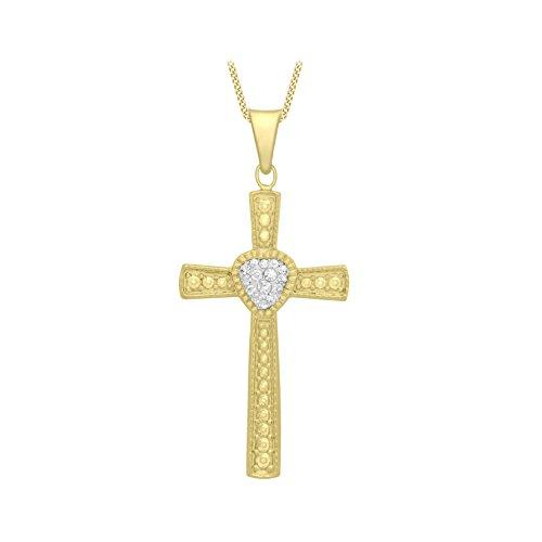 Carissima Gold Damen-Kette mit Anhänger 9ct Cubic Zirconia Patterned Cross Pendant on Curb Chain 375 Gelbgold Kristall weiß Herzschliff 46 cm