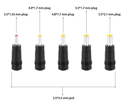 Poppstar Universal Netzteil Hohlstecker-Adapter (AC DC Stecker-Set 5.5x2.5mm Buchse auf 5.5x2.1, 5.5x1.7, 4.8x1.7, 4.0x1.7, 3.5x1.35 Stecker), Set aus fünf Adaptern