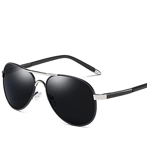 Gafas de sol para hombre: Los nuevos hombres polarizados gafas de sol primavera pierna retro espejo puede ser adyacente a la gafas (negro)