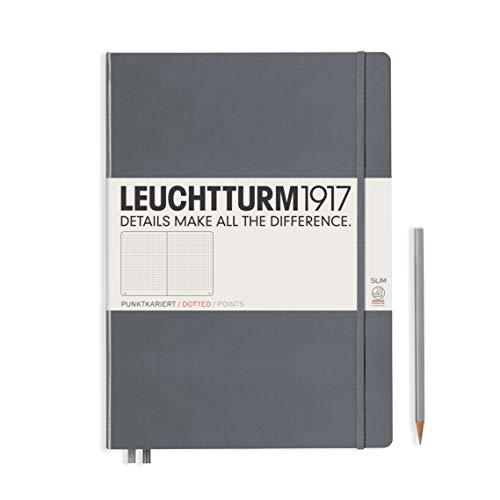 LEUCHTTURM1917 344815 Notizbuch Master Slim (A4+), Hardcover, 123 nummerierte Seiten, Anthrazit, dotted