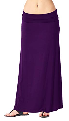 Popana Womens Long Maxi Skirt Casual Convertible Sundress Plus Size Made in USA Eggplant 3X