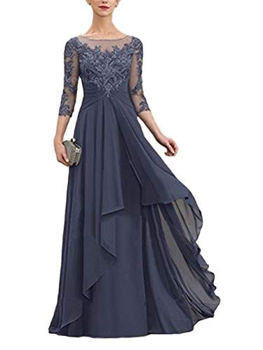 Minetom Damen Spitzenkleider Hochzeit Chiffon Abendkleider Elegant 3/4 Ärmel Langes Kleid Plissee Maxikleider Cocktail Party Ballkleider A Blau 50