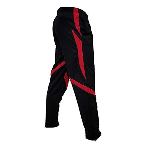 junkai Männer Lange Beiläufige Sporthosen Gym Slim Fit Hosen Lauf Jogger Gym Jogginghose Patchwork Streifen Hosen Rot M