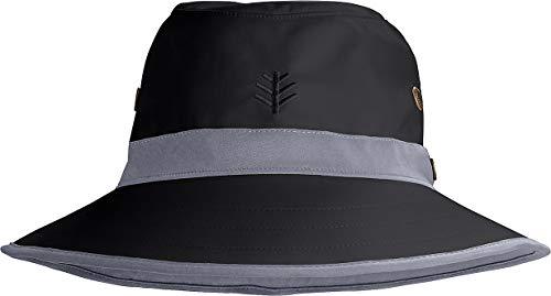 Coolibar UPF 50+ Men's Women's Matchplay Golf Hat - Sun Protective (Small/Medium- Black/Carbon)