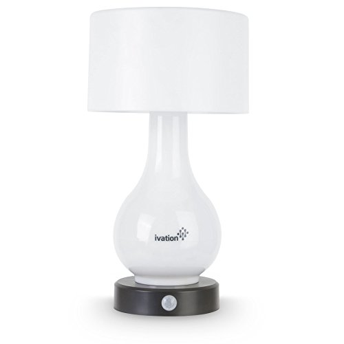 Lampada da tavolo a rilevamento di movimento a batteria a 6 LED Ivation - Luce multi zona: solo corpo, solo ombra o entrambi corpo e ombra - possono anche illuminare continuamente