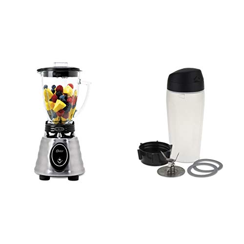 Oster BPCT02-BA0-000 6-Cup Glass Jar 2-Speed Toggle Beehive Blender, Brushed Stainless & Blender Blend-N-Go Smoothie Kit - 006026-000-000