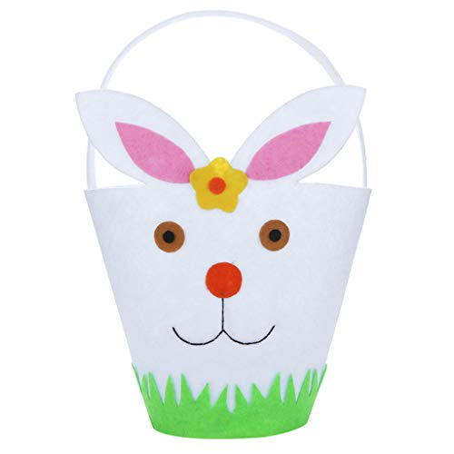Iusun Easter Rabbit Candy Bag Creative Portable Holder Present Home Accessory Organizer Pouch Xmas Cartoon for Chocolates Candies Biscuits Home Decor Supplies Gift (White)