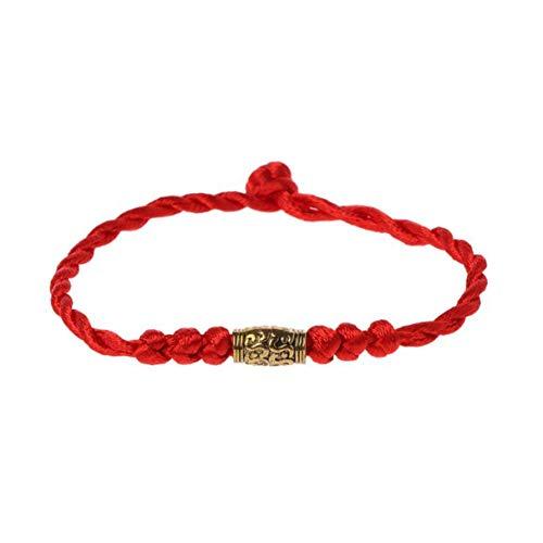 Morninganswer Bracelet Porte-Bonheur Traditionnel tibétain Argent Fil Rouge chaîne amulette Couple Bracelet Bijoux pour Femmes Hommes Portant de l'or
