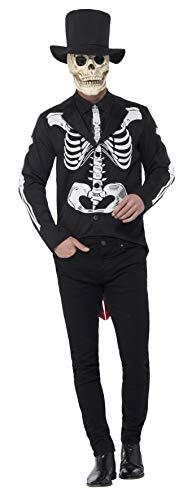Halloween! Smiffys Tag der Toten Señor Skelettkostüm, Schwarz, mit Jacke, vorgetäuschtem Hemd, Krawatte, Hut und Latexmaske