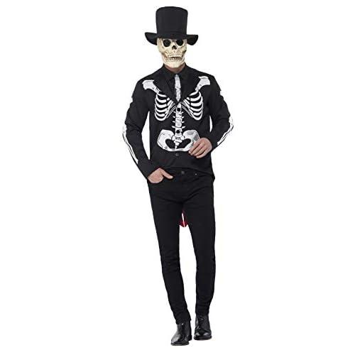 Smiffys Costume Señor scheletro Giorno dei Morti, Nero, con giacca, camicia finta, crava