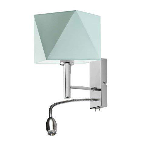 Lámpara de pared Salem con lámpara de lectura LED, pantalla de menta, marco cromado