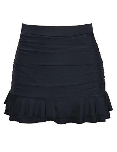 Hilor Women's Skirted Bikini Bottom High Waisted Shirred Swim Bottom Ruffle Swim Skirt Black Tag Size 22(fits 18)