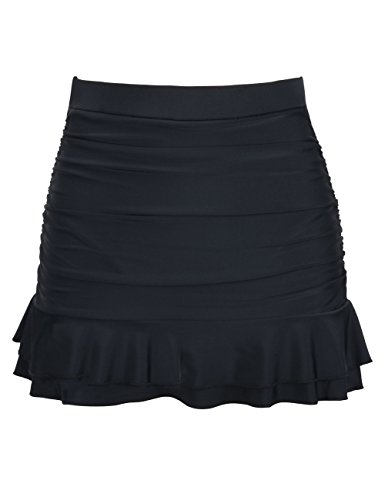 Hilor Women's Skirted Bikini Bottom High Waisted Shirred Swim Bottom Ruffle Swim Skirt Black Tag Size 18(fits 14)