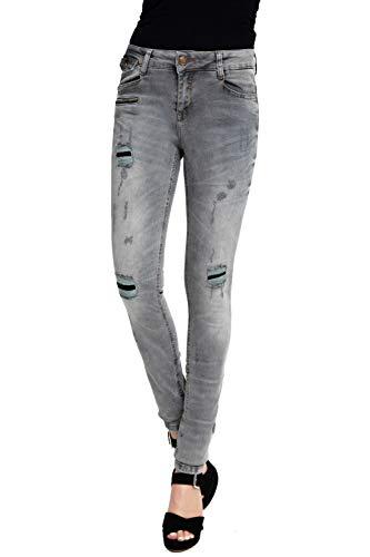 Zhrill Damen Jeanshose Röhrenjeans 5 Pocket Vintage Skinny Fit Mia Destroyed, Größe:W31 / L32, Farbe:W0064 - Grey