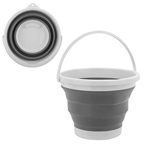 Byqny Cubo plegable portátil, redondo plegable de silicona, cubo de agua para el hogar, con asa de transporte para la limpieza de camping, playa, jardinería, pesca gris 3L