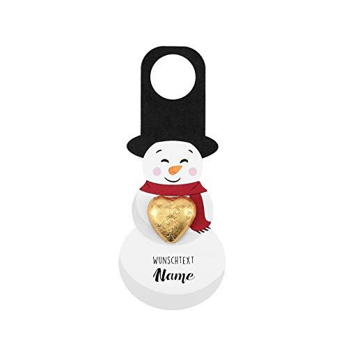 Herz & Heim® Flaschenanhänger zu Weihnachten - Schneemann mit Shokoladen Herz und Aufdruck des Wunschnamen Klein