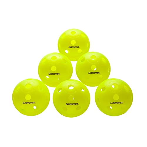 Gamma Sports Photon Indoor Pickleballs, High-Vis Optic Green USAPA Approved Pickleball Balls (6 Pack)