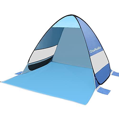 Qomolo Tienda instantánea, Tienda de Playa Portátil para 1-2 Personas, Tienda de Campaña Impermeable para Camping, Senderismo, Viajes, Pesca, Picnic y Deportes al Aire Libre (Azul)
