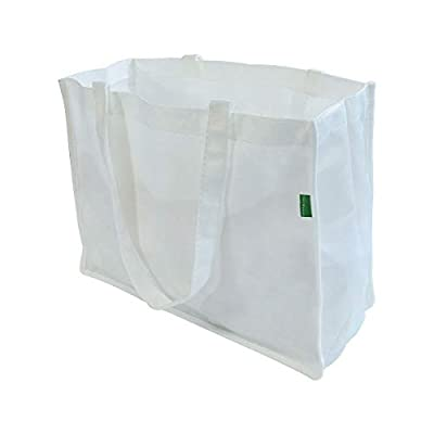 """16x12x6"""" Large White Reusable Grocery Bags Made From Recycled Plastic Bottles, Grocery Shopping Tote, Fabric Shopping Bags, Eco- Friendly Gift Bags…"""