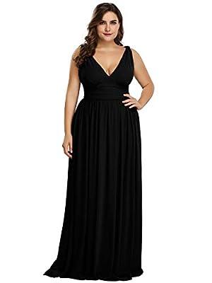 Alisapan V-Neck Plus Size Long Bridesmaid Cocktail Party Dresses for Women Black US18