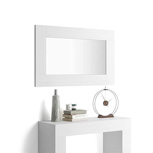 Mobili Fiver, Espejo de Pared Rectangular, Marco de Color Fresno Blanco, Modelo Evolution, Aglomerado y Melamina/Vidrio, Made in Italy