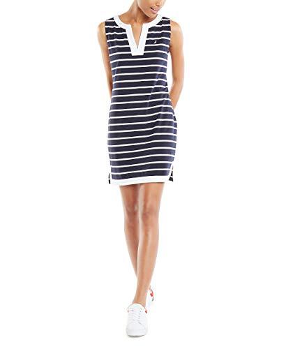 Nautica Women's Breton Stripes Sleeveless V-Neck Stretch Cotton Polo Dress, Navy, Small