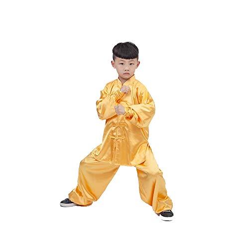 Artes Marciales Tai Chi Trajes Marciales Chándales Niño Niña Niño Primavera Y Otoño Traje Kungfu,Yellow-S
