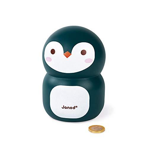 Janod Pinguin-Spardose aus Holz für Kinder, 15 cm - Kinderzimmer-Deko - Ab 3 Jahren, J04650