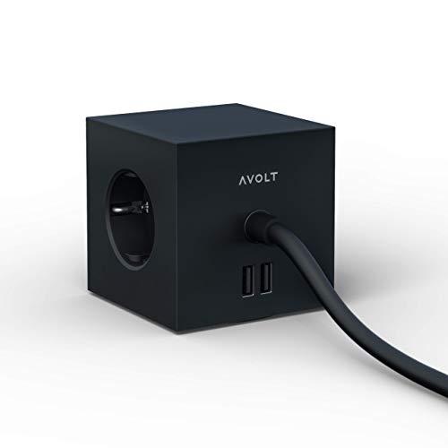 Avolt - Ladrón Cubo Regleta de Enchufes con 3 Tomas y 2 Puertos USB - Cable Alargador Cargador Diseño Múltiple - para Mesa o Pared - Negro Estocolmo