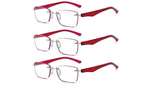 Suertree Rahmenlos Lesebrille Ultraleicht Brille Lesehilfe Sehhilfe Harzlinsen Presbyopie Korrektur 3PCS 2.50x BM112