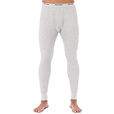 Fruit of the Loom Men's Classic Midweight Waffle Thermal Underwear Bottoms (1-Pack), Light Grey Heather, X-Large