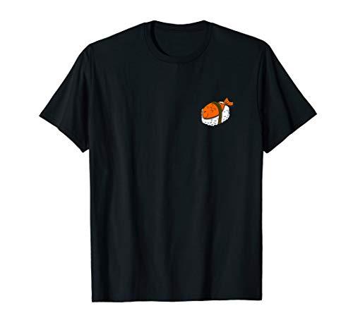 Niedlicher oranger japanischer Sushi Fisch an linker Seite T-Shirt