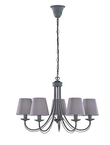 Trio Leuchten Kronleuchter 110600578 Cortez, Metall grau, Stoffschirm grau, exkl. 5 x E14