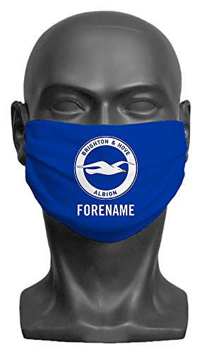 Personalised Compatible With Brighton & Hove Albion FC Crest Adult Face Mask- Large